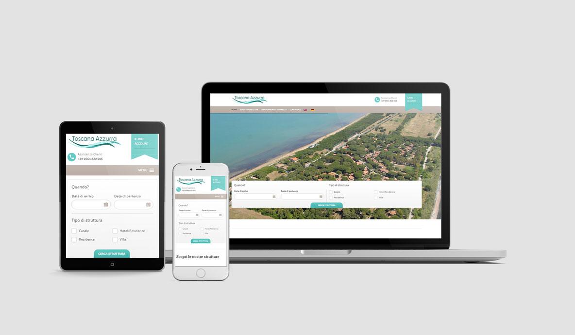 Realizzazione siti booking online - Toscanazzurra - Homepage su diversi devices