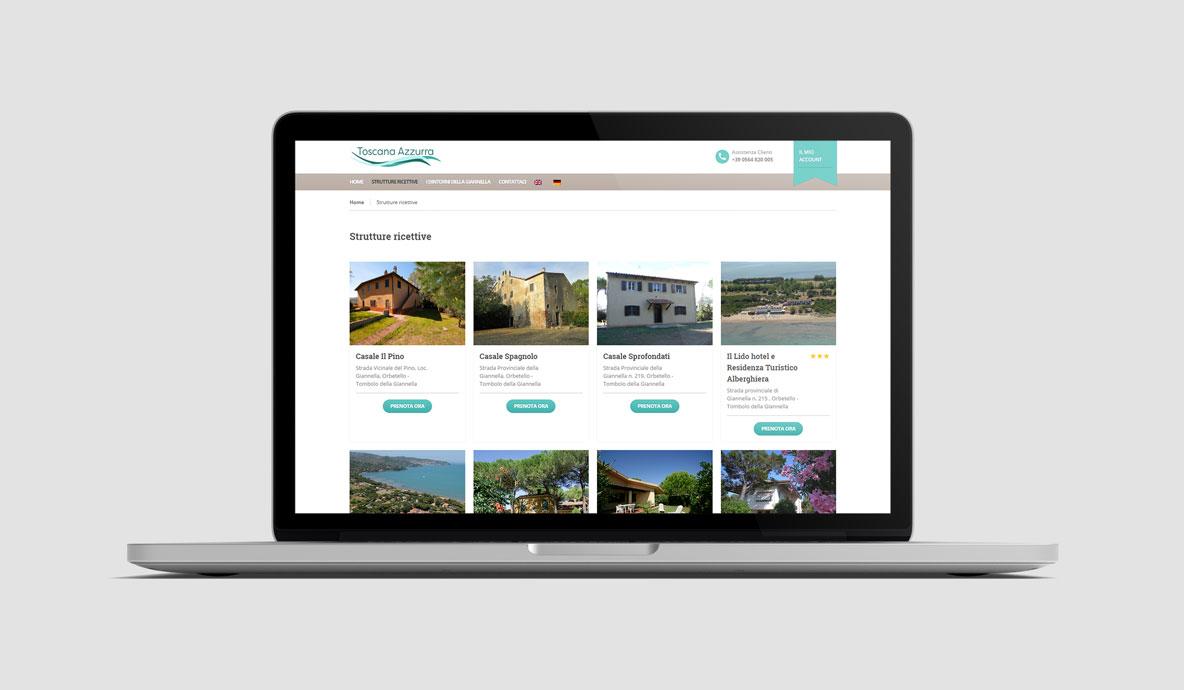 Realizzazione siti booking online - Toscanazzurra - Pagina selezione strutture ricettive