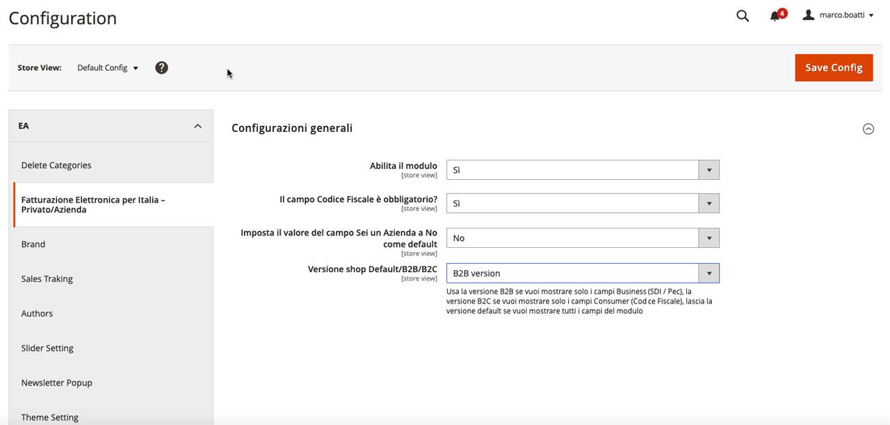 Screenshot - Modulo Fatturazione Elettronica per Italia – Magento 2